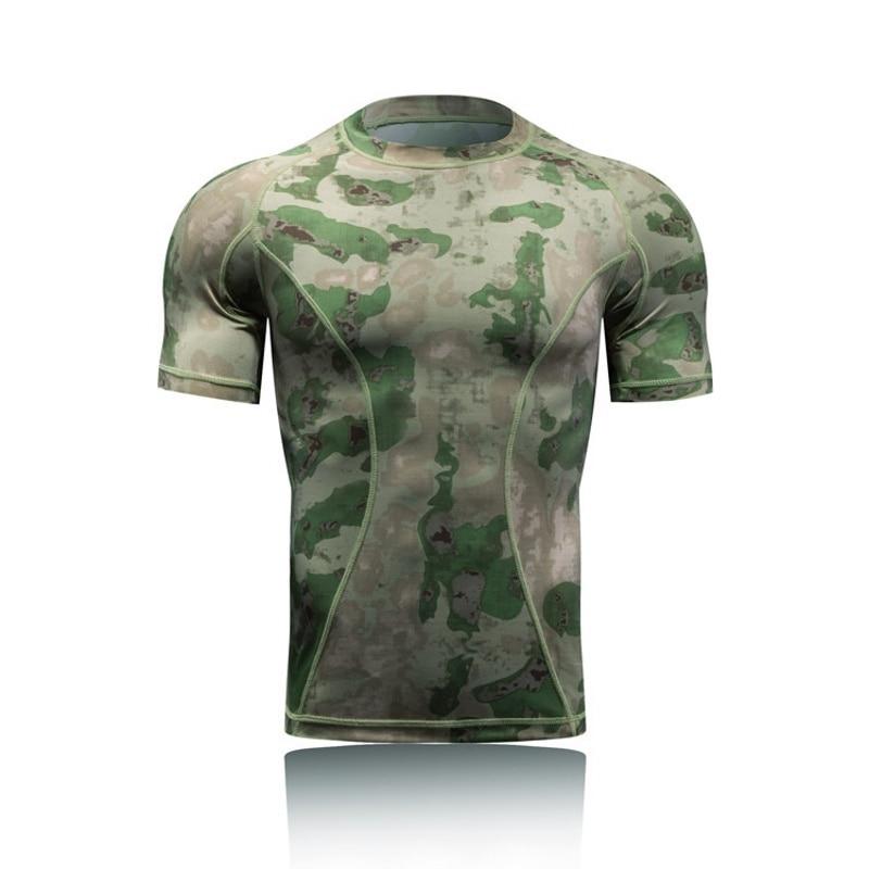 Camiseta táctica militar de combate de manga corta para hombre, camiseta de camuflaje de secado rápido con capa Base para deportes al aire libre, senderismo, caza, Ejército