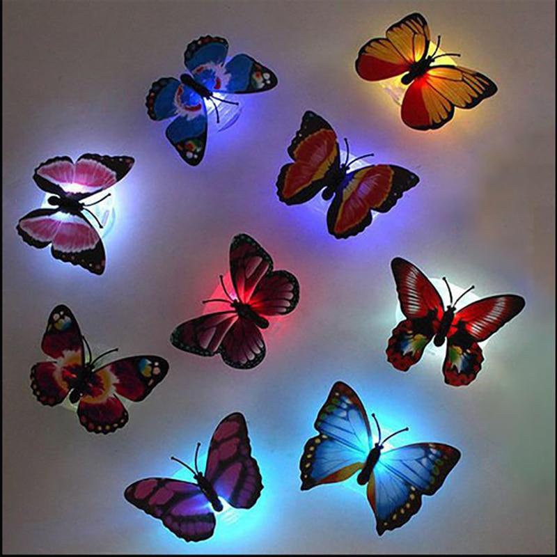 Creativo 3D Stickable mariposa LED dibujos animados adorables mariposas luces para dormitorio de niños luces de noche decorativas 7 colores