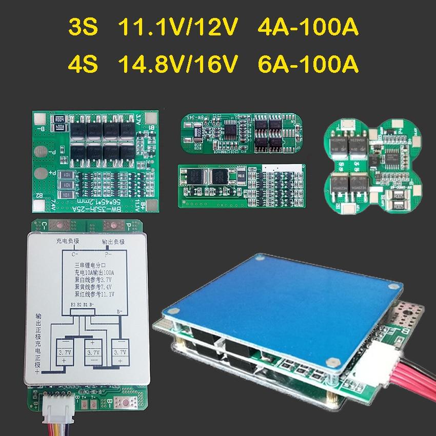 3S 11,1 V 12V 4S 14,8 V 16V 6A 24A 30A 50A 100A высокотоковый литий-ионный Lifepo4 Lipo литиевый аккумулятор Защитная панель BMS модуль