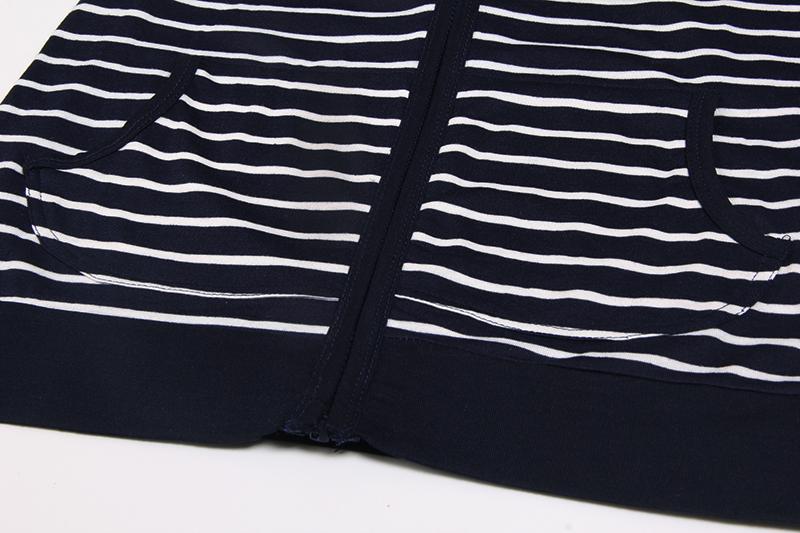 Moda damska Stripes Casual Zipper Bluzy Z Kapturem Kieszeni Kobiety Bluza Plus Rozmiar S-5XL LJ7847R 8