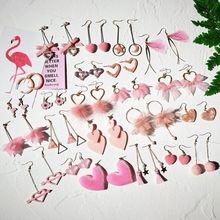 Feminino rosa coração forma bonito brincos de gota estilo coreano elegante moda jóias brincos de gota para meninas pétala