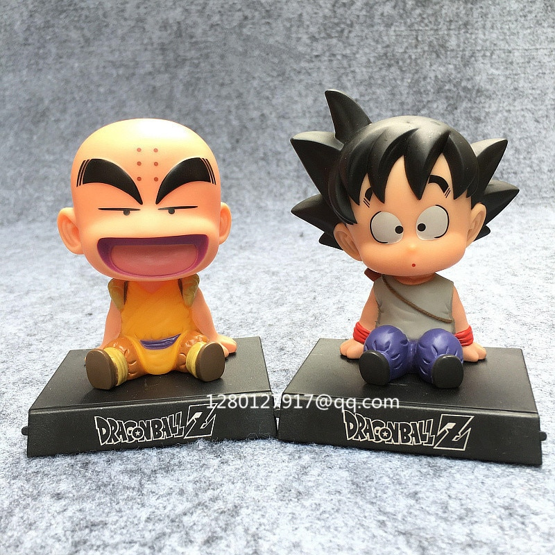 Anime DRAGON BALL Krillin & Son Goku q-versión sacudiendo su cabeza muñeca PVC acción figura juguete de modelos coleccionables 12-14CM caja P1143