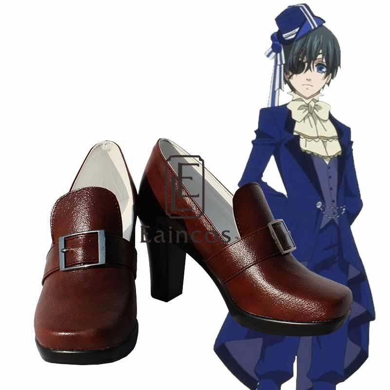 Anime Black Butler Ciel Phantomhive fiesta de cumpleaños zapatos Cosplay negro/marrón botas hechas a medida
