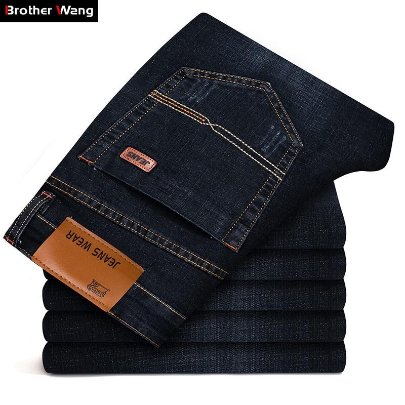 Джинсы Brother Wang мужские стрейчевые, модные классические брюки из денима, повседневные брендовые облегающие штаны, цвет черный/синий