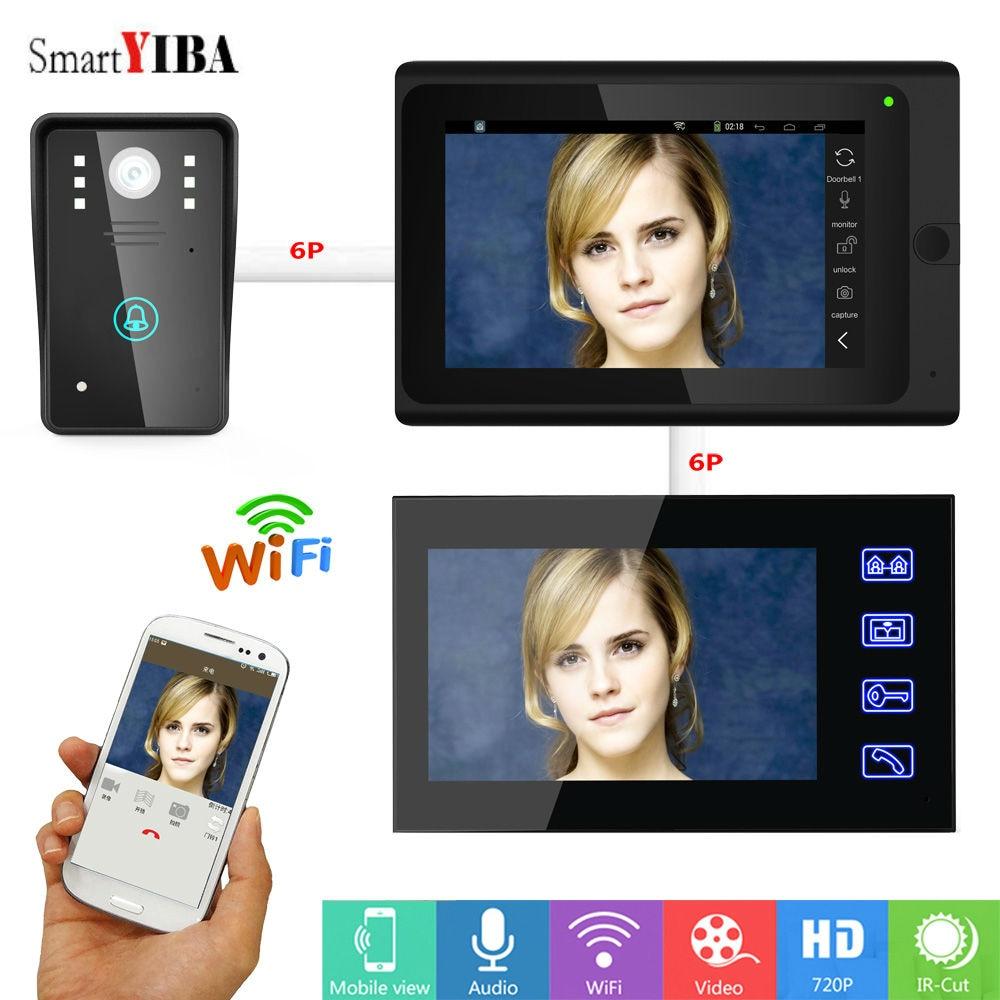 SmartYIBA  WIFI Video Door Phone With 7inch Video Monitor 1000TVL Doorbell Intercom Kit Wired/Wireless IR Night Vision Doorphone