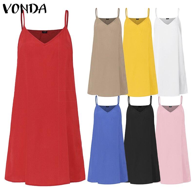 Vestidos cortos VONDA 2020 de 7 colores sexis con tiras finas para mujer, vestido de tirantes con parte inferior, ropa interior informal de Color sólido, vestidos de maternidad