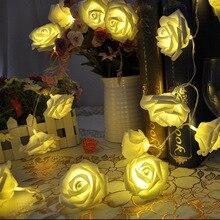 2020 décoration de mariage luces decorativas 2M 20 LED Rose fleur fée chaîne lumières lumière chaude fête Valentine lumières de noël
