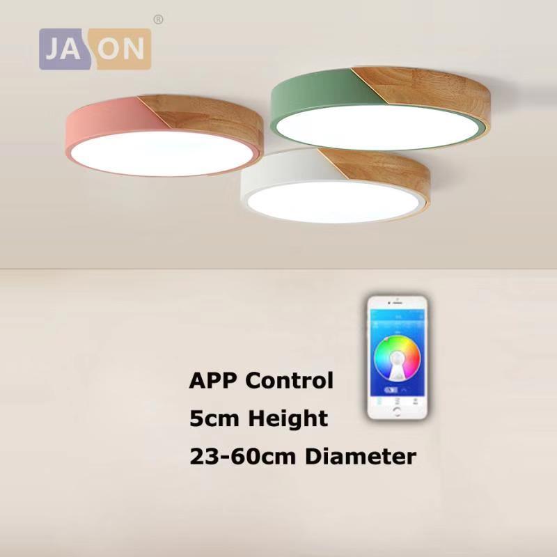 LED Modern Iron Acryl Wood Round 5cm Thin APP Control LED Lamp.LED Light.Ceiling Lights.LED Ceiling Light.Ceiling Lamp For Foyer