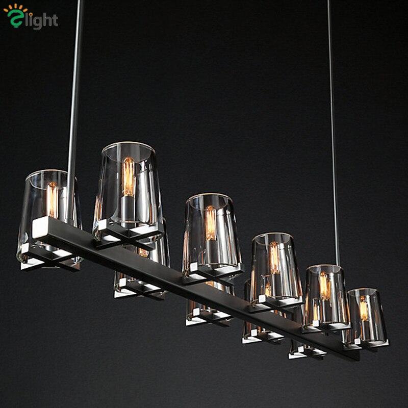 Living Room RH American Led Pendant light Lustre  Bulb E14 Pendant Lamp Clear Wine Glass Shades Pendant Lighting Fixtures