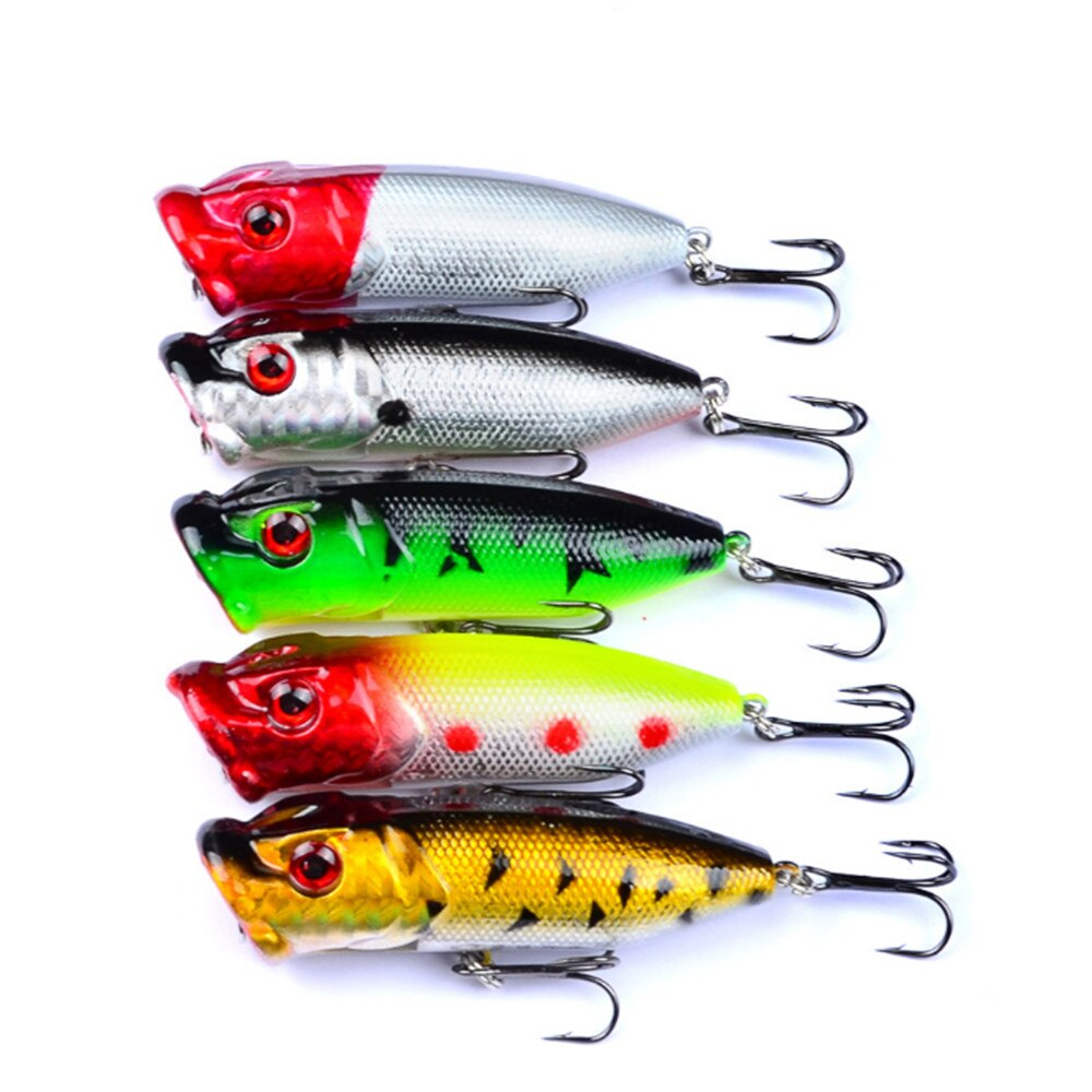 5pc 6.5cm 13g Popper Fishing Lures 3D Eyes Fishing Hard Bait Crankbait Wobblers Tackle Isca Poper Japan Floating Pesca