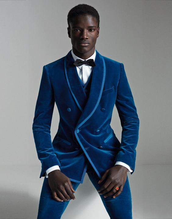 Lo último en diseños de pantalones, traje de terciopelo azul real para hombre, doble botonadura, esmoquin de 3 piezas, chaqueta de novio personalizada para graduación, Masculino