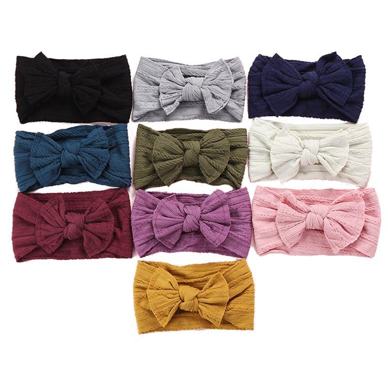 Нейлоновые повязки на голову с бантом, вязаные однотонные нейлоновые повязки на голову, тюрбан для маленьких девочек, аксессуары для волос, 10 видов цветов