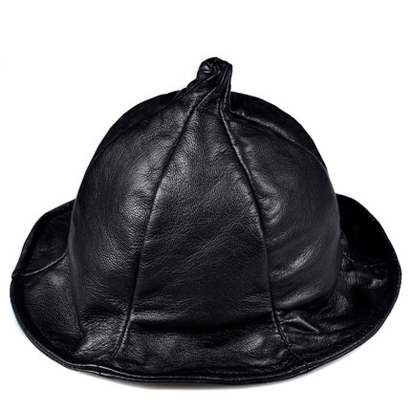 جديد حصري للجنسين خمر جلد طبيعي أسود وعاء معالج قبعة Wome/الرجال عادية شارع كبير حافة جميع القديسين يوم بيني قبعات
