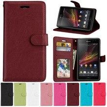 Pour Sony Xperia C2305 étui en cuir PU Flip portefeuille support téléphone étuis pour Sony Xperia C 2305 S39H C2305 couverture affaires portefeuille sac