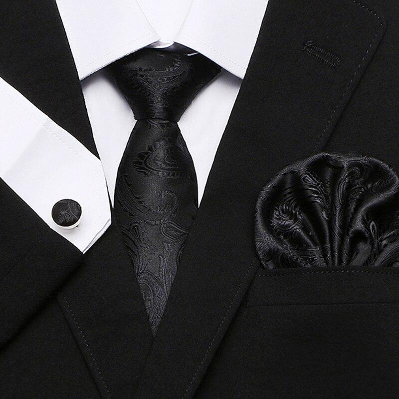 Gioia alice Classico nero Blu Plaid Controlli Jacquard Cravatta Mens Cravatta Da Sposa Set fazzoletti e Gemelli