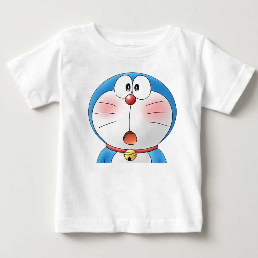 Print Doraemon A dream T-shirt animated summer girl dress boy short sleeves hot casual Baby Dress Child