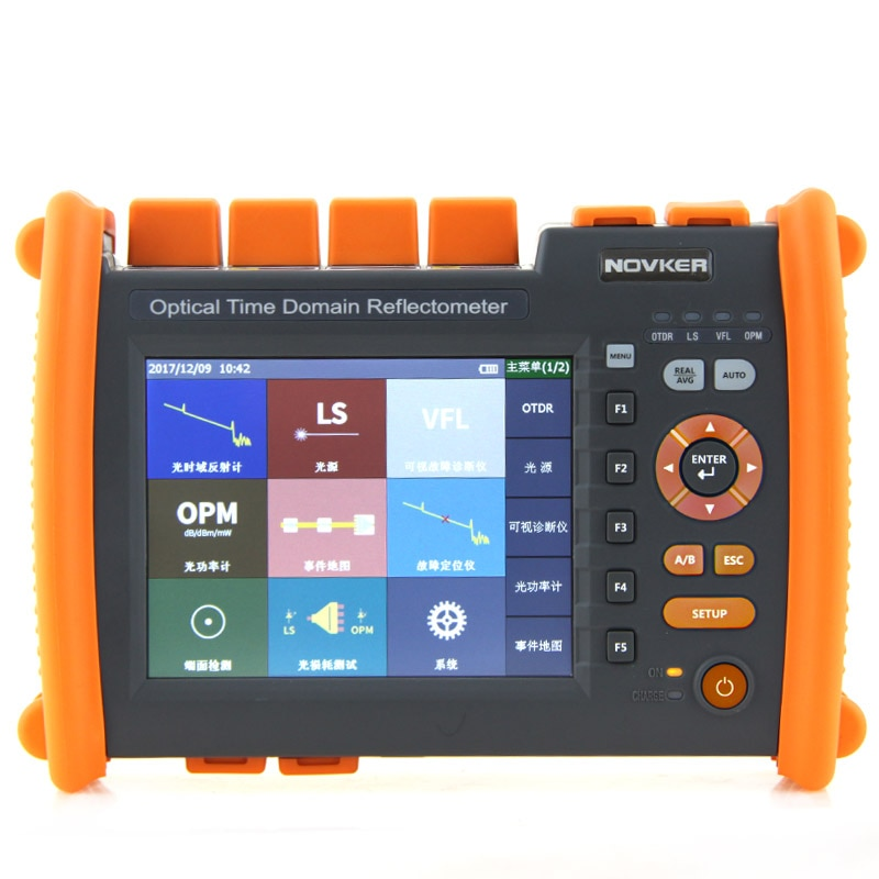 Reflectómetro óptico de dominio de tiempo NK5600-SM-OTDR-1310-1550nm-30/32dB Novker portátil integrado VFL 5MW pantalla táctil OTDR