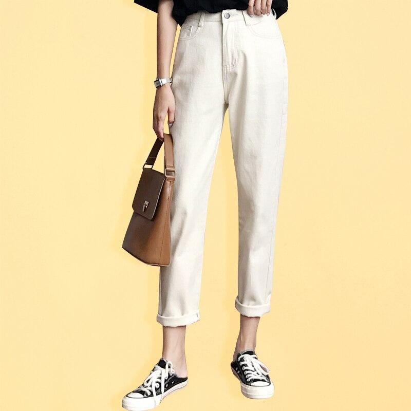 Beige Boyfriend Harem Jeans para mujer Loose Vintage Jeans anchos para mujer con cintura alta de algodón Jean femenino Boyfriend Denim Pants