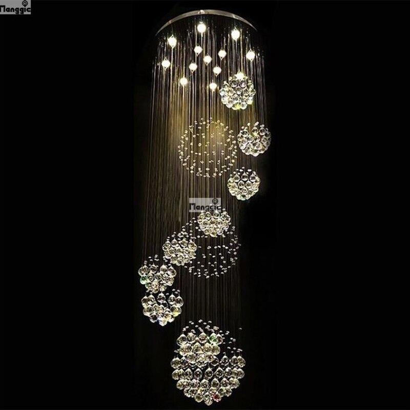 Lustre de cristal com design de bola k9, grande lustre com luzes de cristal, espiral, design para sala de estar, iluminação de escada