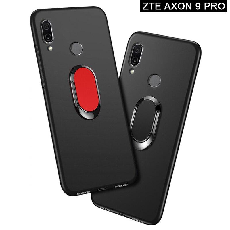 Funda ZTE Axon 9 Pro A2019 Pro de 6,21 pulgadas de silicona suave negra Coche magnético soporte de anillo para ZTE Axon 9 Pro A2019PRO