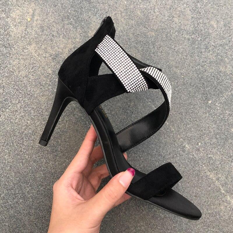 Envío Gratis sandalias de mujer de moda de diseñador Casual de ante negro strass de tiras de tobillo-Wrap zapatos de tacones altos