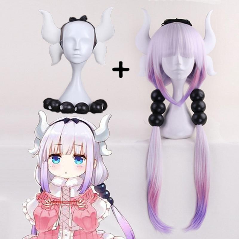 Anime japonês kobayashi san chi sem empregada dragão peruca cosplay kannakamui peruca cosplay longo tranças cachos peruca sintética kanna