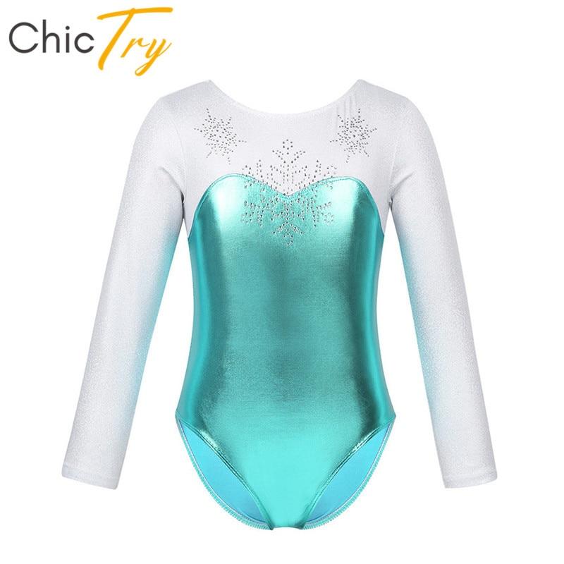 Pollito de manga larga brillante metálico copo de nieve de estrás Niñas Ropa de baile patinaje gimnasia leotardo para niños Ballet traje de baile