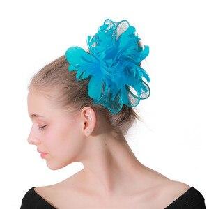 Fancy Feathers Flower Headdress Cocktail Race Headwear Bridal Wedding Elegant Fascinators Hair Accessories Hair Clip For Ladies