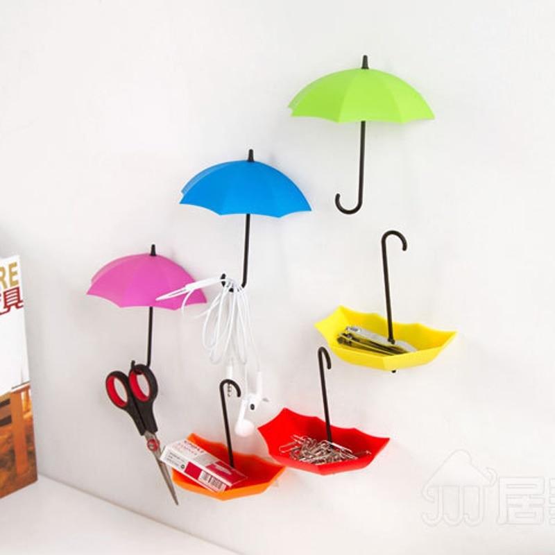 3pc Colorful Umbrella Hooks Bathroom Wall Command Storage Shelves 2 Function Storage Holder Hanger Home Storage Tool