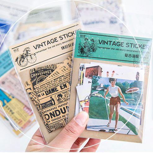 24 unids/pack serie clásica papel grande pegatina decoración Diy Ablum álbum de recortes diario papelería pegatinas suministro escolar