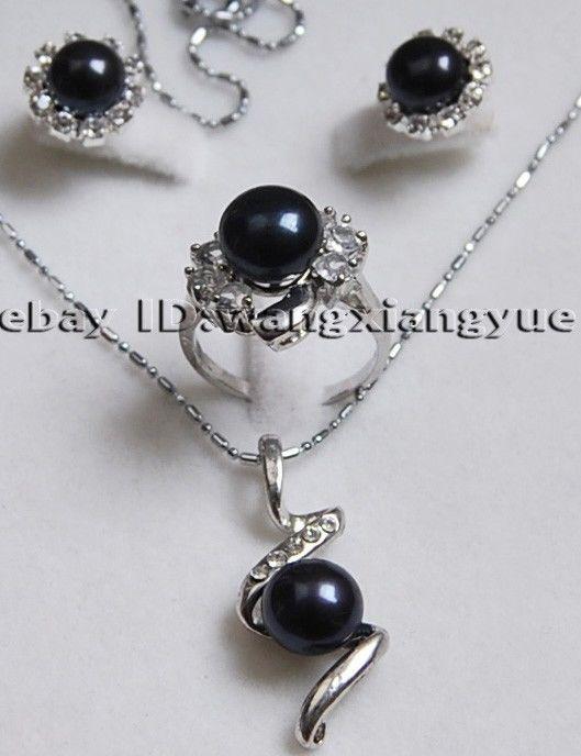 Pendientes de perlas de cultivo negro Akoya/anillo/COLLAR COLGANTE Set18K reloj plateado al por mayor piedra de cuarzo CZ cristal (A0423)
