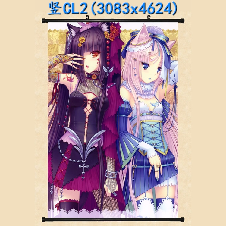 Anime japonês nekopara chocolat & vanilla & azuki & coconut & cinnamon decoração de casa parede rolagem poster fotos decorativas