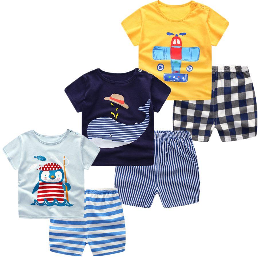 3 шт./лот, 2020, комплект одежды для маленьких мальчиков и девочек, летняя хлопковая одежда с короткими рукавами и рисунком для новорожденных, к...