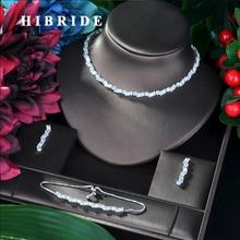 HIBRIDE Famous Brand Luxury Shinning Flower Leaf Women Wedding Naija Bridal Cubic Zirconia Necklace Dubai Dress Jewelry Set N-37