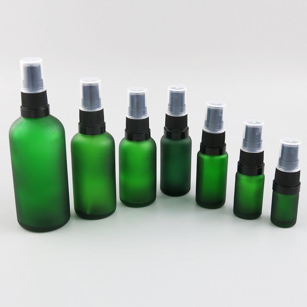 10pcs 10 20 30 50 100 ml green glass bottle with mist sprayer lid small spray cosmetic liquid perfume bottle 30cc 1oz 1/2oz
