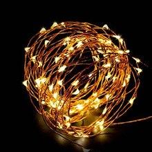 Guirlande lumineuse fée alimentée par batterie USB étanche 2 mètres 10 mètres 100 guirlande LED 33FT ligne argent luciole bande lumineuse de vacances
