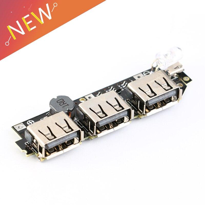 3 USB Output 3V 3.7V 4.2V To 5V 2A 1A Mobile Power Circuit Board Boost Module For DIY Power Bank Lithium Battery LED Indicator