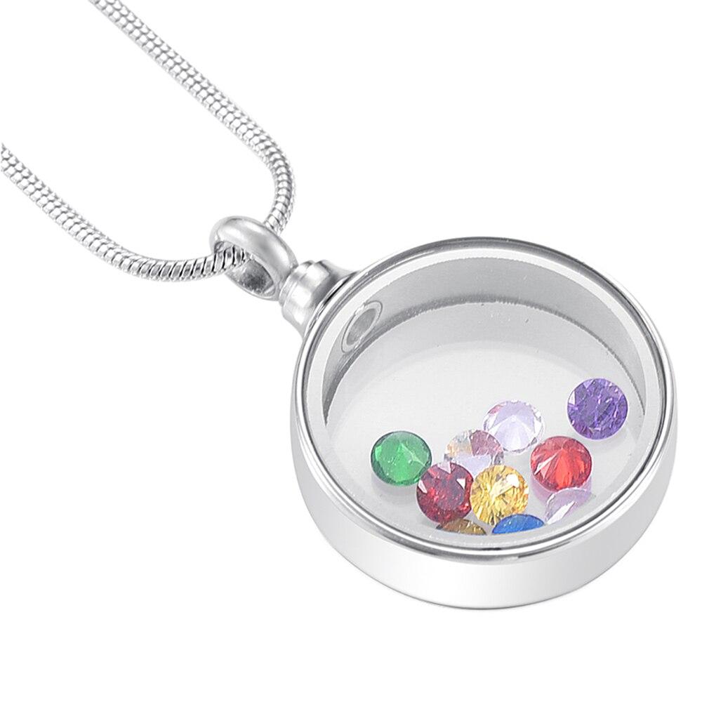 MJD9889 joyería de cremación impermeable de acero inoxidable collar de urna de medallón de corazón de cristal conmemorativo