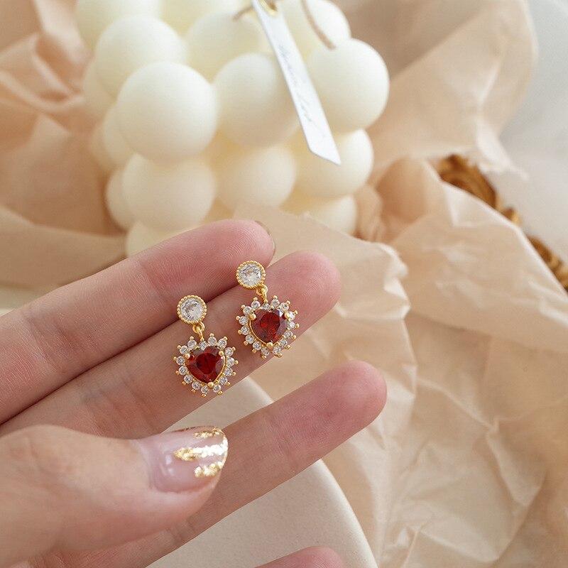 2019 nuevo amor rubí brillante romántico lujo moda pendientes femenino elegante Joker pendientes