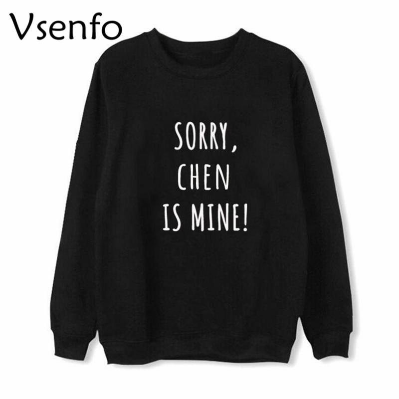 Vsenfo EXO члены K-Pop Толстовка для мужчин и женщин с буквенным принтом BAEKHYUN CHANYEOL CHEN DO KAI LAY SEHUN толстовки уличная одежда