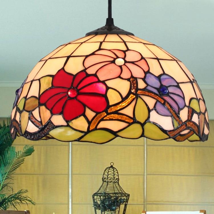 Tiffany retro glass handmade 12 inch simple pastoral flower  Stained Glass Suspended Luminaire E27 110-240V Chain Pendant light