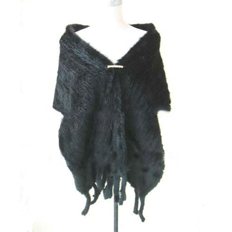 معطف فرو منك نسائي ، زي شتوي منسوج ، بونشو ، وشاح ، شال أنيق ، أسود ، 180 × 30 سم