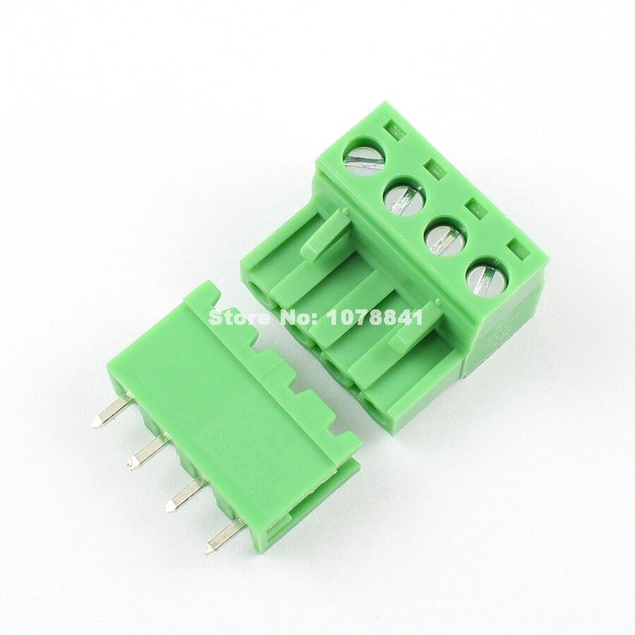 5 pces por lote 5.08mm passo 4 pino 4 maneira parafuso pluggable terminal bloco plug conector l