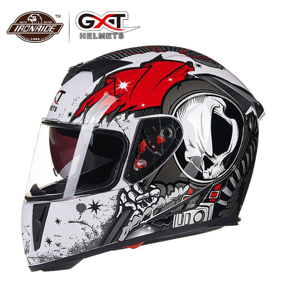 GXT, nuevo Casco abatible hacia arriba para carreras, Casco de doble lente para Moto, cara completa, cascos de carreras para montar, Casco Capacete, Casco para Moto