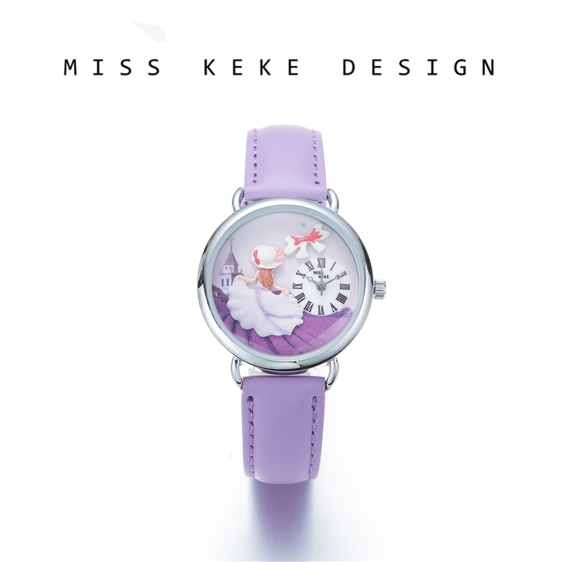 Miss Keke 2018 New Design Clay Cute Geneva Small Size 32mm Dress Girl Watches Children Women Present Purple Princess Lavender636