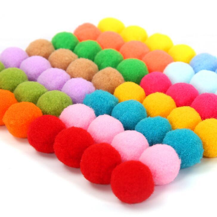 1 1.5 2 2.5 3 cm Large medium small color wool ball Boy Girls Toys kindergarten DIY handmade materials Plush Stick Pompoms BS94