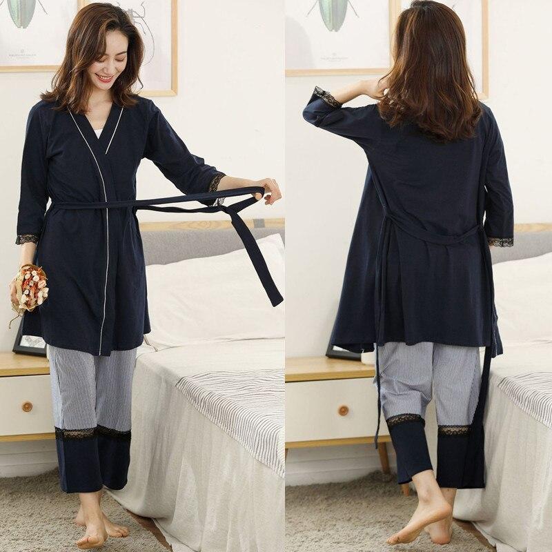 Cotton Maternity Pajamas Sets Cardigan+Camisole+Trousers Belt Three-piece Sleepwear OCollar Pregnant Women Nursing Nightgown