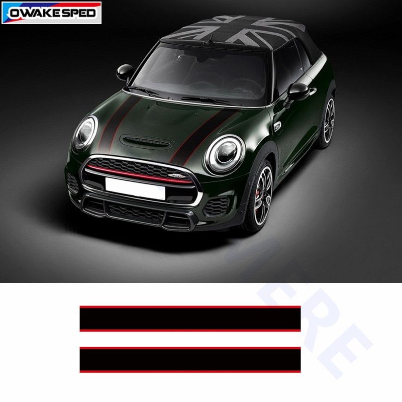 Наклейка в полоску для гонок, Стайлинг автомобиля, капюшон, украшение для тела, наклейка для MINI Cooper S Countryman Clubman Paceman R56 R60 R61 F54 F55 F56