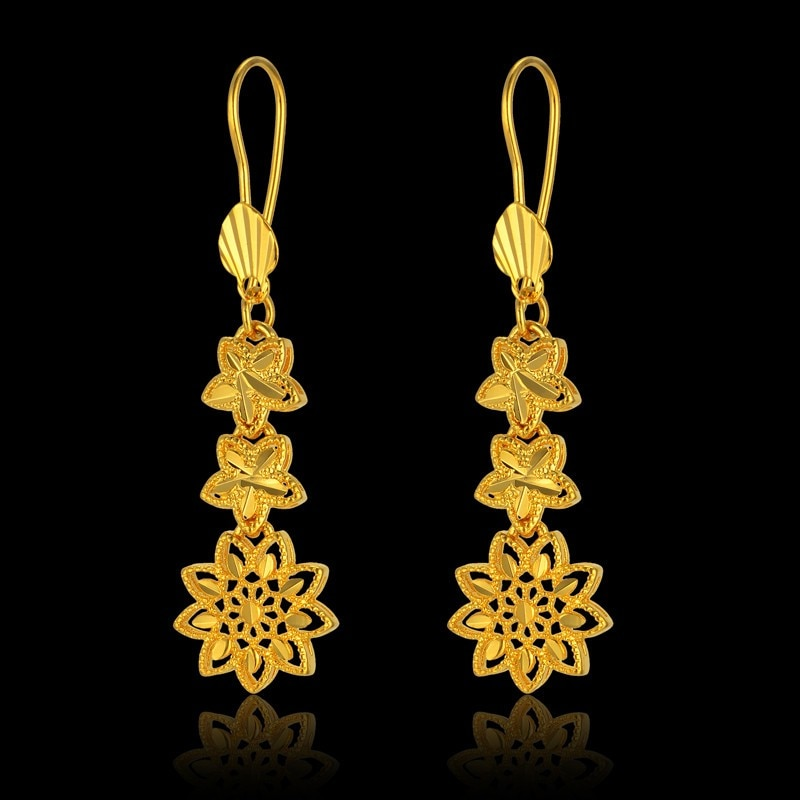 Moda coreano estilo longo flor gota brincos luxo ouro cor casamento brinco feminino festa jóias presente