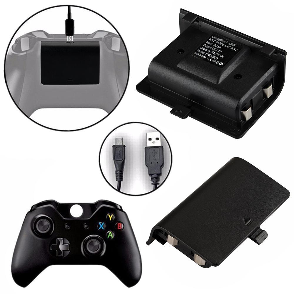 2X 2400mAh batería recargable con Cable USB para XBOX ONE controlador inalámbrico Gamepad batería de repuesto Bateria